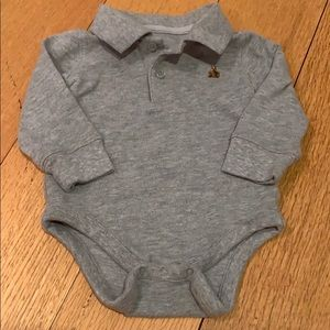 Gap Long-sleeve Grey Polo Onesie Size 6-12 Months